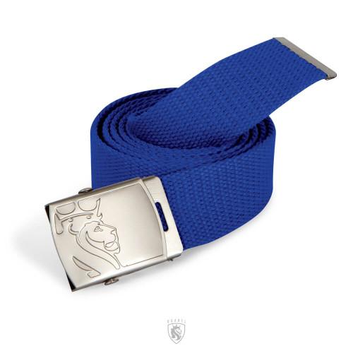 Blue Web Belt with Lion Buckle