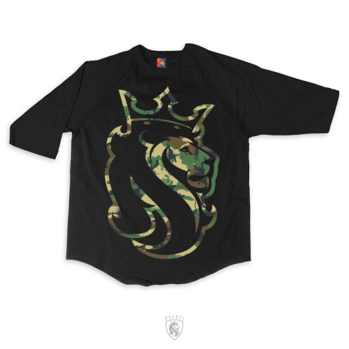 ogabel lion logo with army camouflage print