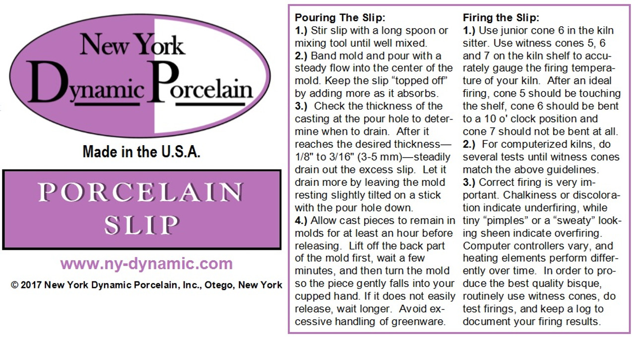 PORCELAIN SLIP -- 6-LITER BAGS (ONLY FOR PICKUPS OR LARGE ORDERS SHIPPING  BY PRIVATE FREIGHT)