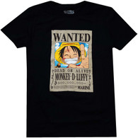 One Piece: Luffy Wanted Poster Men's Black T-Shirt