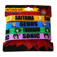 One Punch Man Multi-Pack PVC Wristband - Set of 4