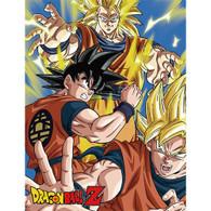 Dragon Ball Z: Goku, Super Saiyan Goku, & SS3 Goku Throw Blanket