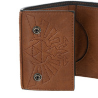 The Legend of Zelda: Metal Hylian Shield Badge Tri-Fold Wallet with Chain