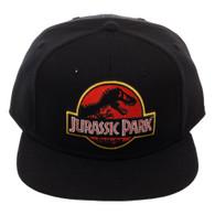 Jurassic Park Embroidered Logo Black Snapback Cap Hat