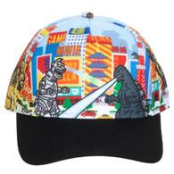 Godzilla All Over Print Pre-Curved Snapback Cap Hat