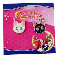 Sailor Moon: Luna & Artemis Guardian Cats Face Metal Pins Set of 2