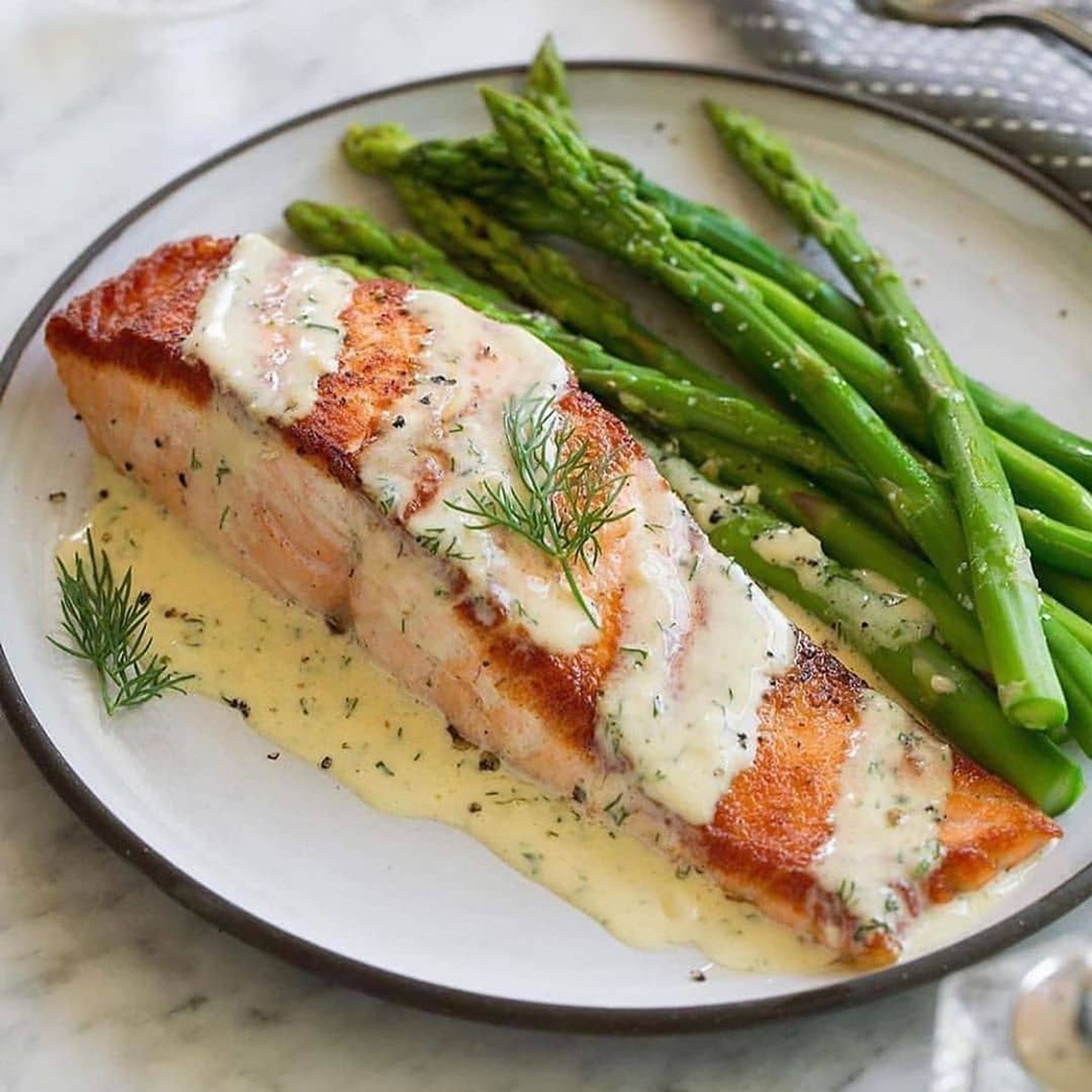 Pan Seared Salmon with Creamy Garlic Dijon Sauce (Portion Control Plate Recommended)