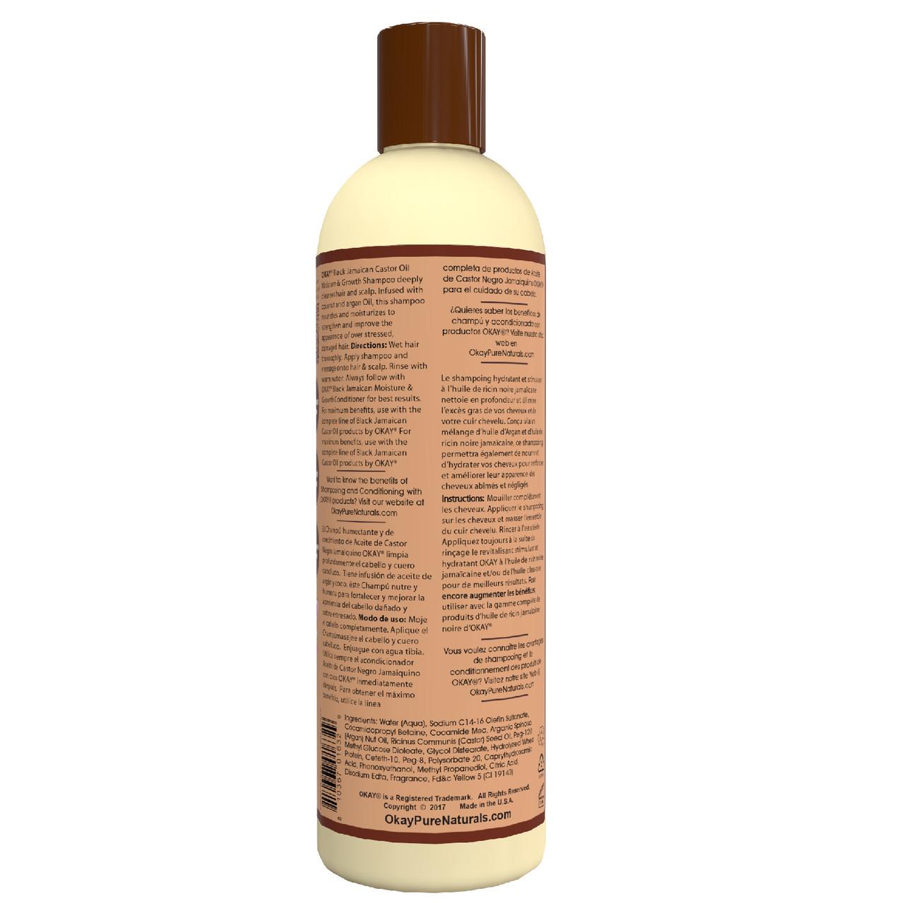 Okay Black Jamaican Castor Oil Moisture Growth Shampoo Helps Moisturize Regrow Strong Healthy Hair