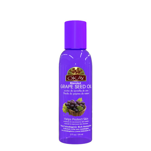 Grape Seed Blended Oil for Hair & Skin -Non-Comedogenic, Rich Moisturizer-Provides Silky Rich Feeling To Hair-Hydrates Skin, Prevents Clogged Pores & Breakouts-For All Hair Textures And All Skin Types- Paraben Free - Made in USA   2oz / 59ml