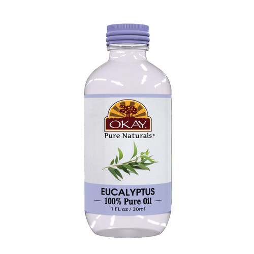 OKAY Eucalyptus Oil 100% Pure for Hair & Skin- Increases Elasticity & Strength Of Hair-Helps Prevent Breakage & Split Ends -Moisturizes & Nourishing Skin -For All Hair Textures And All Skin Types-Silicone, Paraben Free   1oz / 30ml