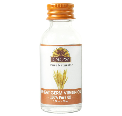 OKAY Wheat Germ Virgin Oil 100% Pure for Hair & Skin-Nourishing For Skin & Hair-High in vitamins A, B, D E, And Anti-Oxidants -Helps Decrease Hair Thinning- For All Hair Textures And All Skin Types- Silicone, Paraben Free  1oz / 30ml