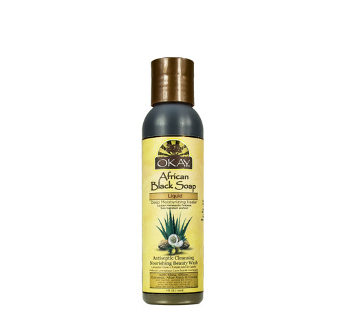 African Black Soap Liquid-Antiseptic Nourishing Beauty Wash -Natural Remedy For Cleansing Skin- For Treatment Of Skin Conditions Like Acne, Blemishes, & Psoriasis-  Sulfate, Silicone, Paraben Free For All Skin Types - Made in USA 4oz / 118ml
