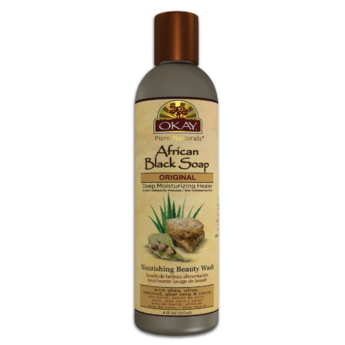 African Black Soap Liquid-Antiseptic Nourishing Beauty Wash -Natural Remedy For Cleansing Skin- For Treatment Of Skin Conditions Like Acne, Blemishes, & Psoriasis-  Sulfate, Silicone, Paraben Free For All Skin Types - Made in USA 8oz / 237ml