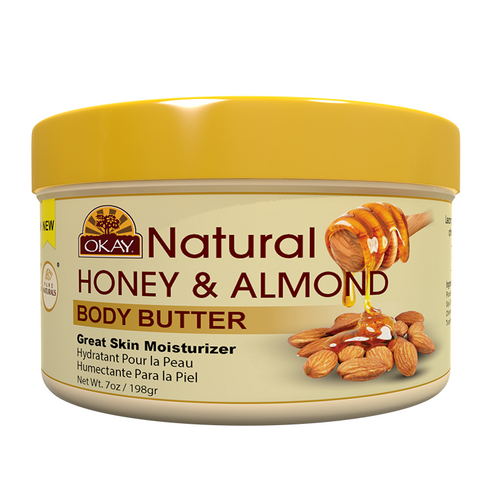 Honey & Almond Butter 100% Natural Smooth for Skin and Hair- Excellent Emollient- Soothes And Softens Skin -Helps Prevent Dryness-Nourishes And Soothes Hair Cuticles-Adds Shine, Controls Breakage - Made In USA 7oz / 198Gr