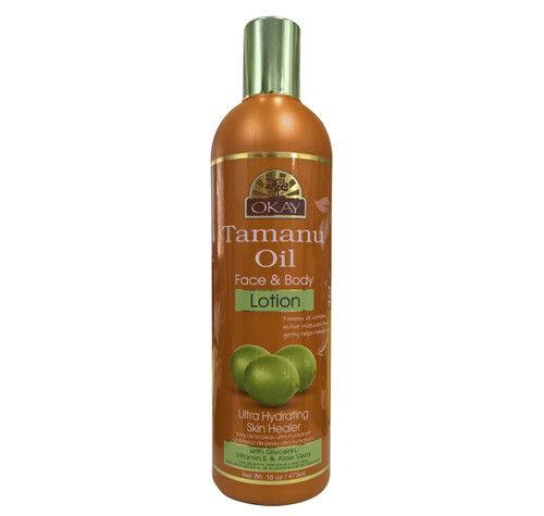 OKAY Tamanu Oil Lotion for Face & Body - Instant Moisturizer- Heals Skin-  Essential For Daily Protection -Helps Restore Elasticity- Achieve Soft, & Radiant Skin- Silicone, Paraben Free For All Skin Types- 16oz / 473ml