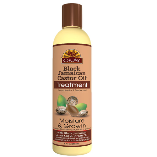 OKAY  Black Jamaican Castor Oil Moisture Growth Treatment - Helps Moisturize & Regrow Strong Healthy Hair - Sulfate, Silicone, Paraben Free For All Hair Types and Textures - Made in USA. 8oz / 237ml