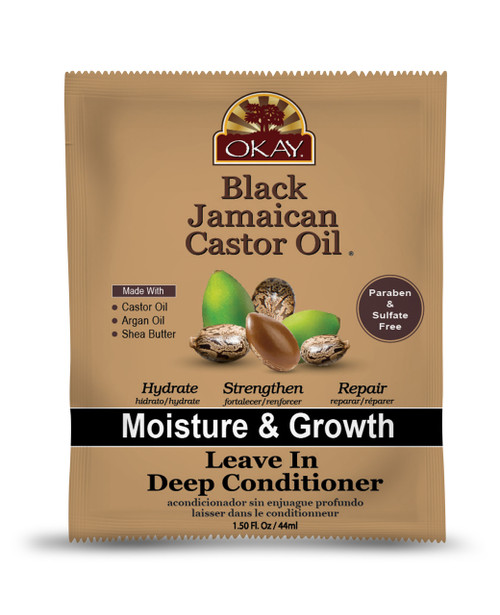 OKAY  Black Jamaican Castor Oil Leave In Conditioner  - Helps Moisturize & Regrow Strong Healthy Hair- Sulfate, Silicone, Paraben Free For All Hair Types and Textures- Made in USA. 1.5oz