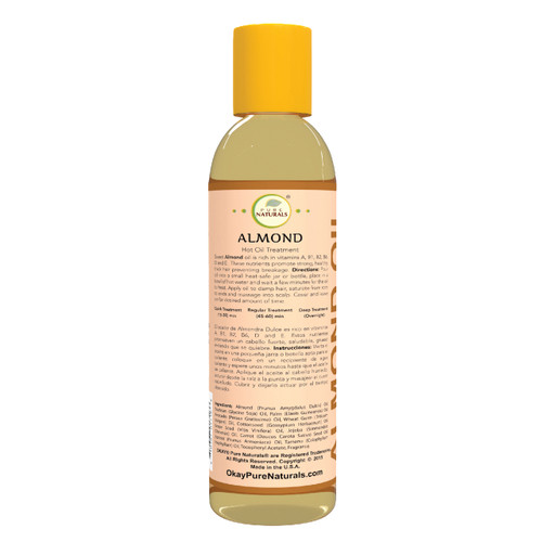 Almond Hot Oil Treatment for Strengthening  -Promotes Strong Hair- Prevents  Breakage-  Restores Hair -Nourishes, Smoothes Cuticle-Improves Hair Appearance- Silicone, Paraben Free For All Hair Types and Textures - Made in USA 6oz / 177ml