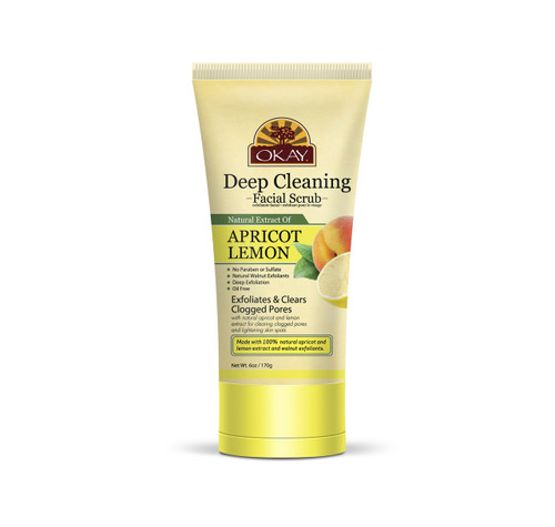 OKAY Apricot Lemon Facial Scrub for Deep Cleaning - Removes Dirt, And Oil- leaves Skin Freshly Cleansed, Moisturized & Energized- Helps Clear Blemishes, Minimize Pores, Leaves Skin Smooth - Alcohol, Sulfate, Paraben Free -  6oz
