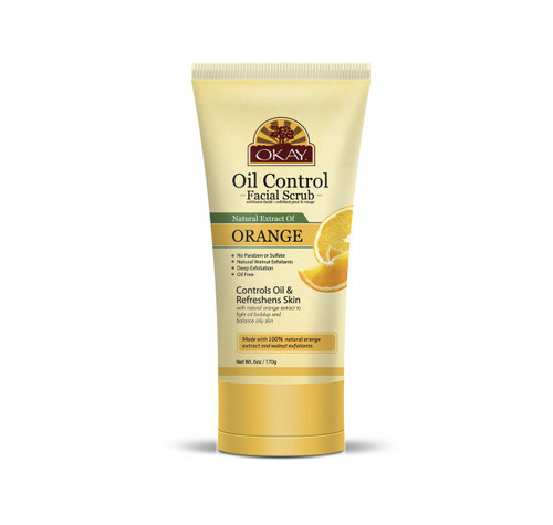 OKAY Orange Facial Scrub for Oil Control- Deeply Exfoliates- Removes Dirt- Leaves Skin Freshly Cleansed, Moisturized & Energized- Helps Clear Blemishes, Minimize Pores, Leaves Skin Smooth - Alcohol, Sulfate, Paraben Free -  6oz