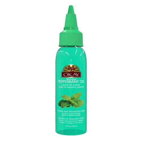OKAY Peppermint Blended Oil for Scalp, Hair & Skin -  Helps Balance Oily Hair- Stimulates Hair Follicles- Great For Soothing Skin & Moisturizing - Paraben Free For All Skin & Hair Types and Textures -  2oz/59ml