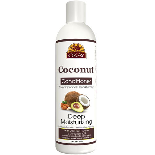 OKAY Coconut Deep Moisturizing Conditioner - Helps Replenish Moisture And Elasticity For Healthy Strong Hair - Sulfate, Silicone, Paraben Free For All Hair Types and Textures- Made in USA 12oz 355ml