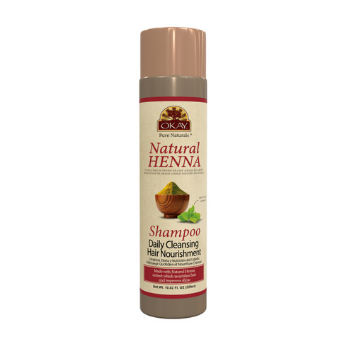 OKAY Pure Naturals Natural Henna Shampoo -Formulated To Gently Cleanse Hair - Provides Nourishing Henna Extracts-  Helps Protect &Improve Hair Appearance And Shine - Sulfate, Silicone, Paraben Free For All Hair Types and Textures  10.8oz