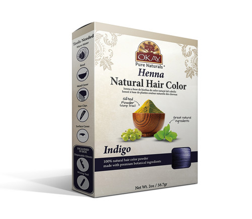 OKAY Pure Naturals Herbal Henna Hair Color Indigo- Natural Hair Coloring Solution- Free Of Harmful Chemicals -Provides Rich Vibrant Color-  Adds Nourishing Properties - Leaves Hair Soft And Shiny- For All Hair Types & Textures-  2oz