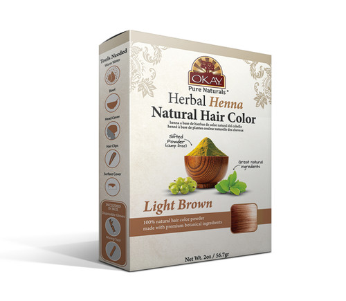 OKAY Pure Naturals Herbal Henna Hair Color Light Brown- Natural Hair Coloring Solution- Free Of Harmful Chemicals -Provides Rich Vibrant Color-  Adds Nourishing Properties - Leaves Hair Soft And Shiny- For All Hair Types & Textures- 2oz
