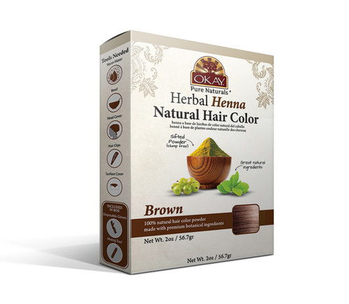OKAY Pure Naturals Herbal Henna Hair Color Brown- Natural Hair Coloring Solution- Free Of Harmful Chemicals -Provides Rich Vibrant Color-  Adds Nourishing Properties - Leaves Hair Soft And Shiny- For All Hair Types & Textures-  2oz