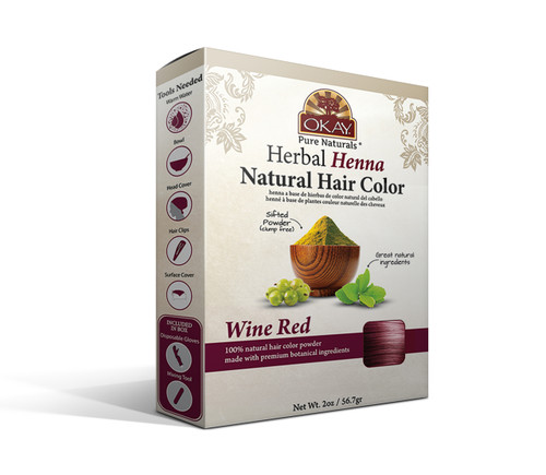 OKAY Pure Naturals Herbal Henna Hair Color Wine Red - Natural Hair Coloring Solution- Free Of Harmful Chemicals -Provides Rich Vibrant Color-  Adds Nourishing Properties - Leaves Hair Soft And Shiny- For All Hair Types & Textures-  2oz