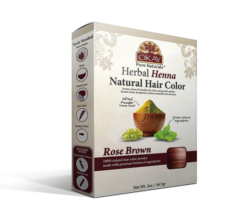 OKAY Pure Naturals Herbal Henna Hair Color Rose Brown- Natural Hair Coloring Solution- Free Of Harmful Chemicals -Provides Rich Vibrant Color-  Adds Nourishing Properties - Leaves Hair Soft And Shiny- For All Hair Types & Textures-   2oz