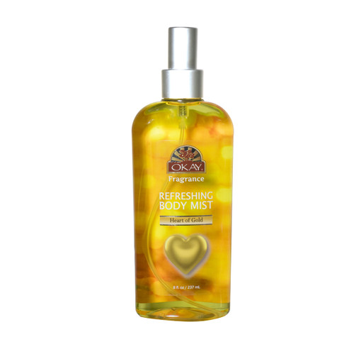 Refreshing Body Mist - Heart Of Gold - Leaves You Beautifully Scented-  Fully Refreshed- Will Awaken Your Senses- Leaving You Feeling Revitalized- Silicone, Paraben Free For All Skin Types  -Made In USA(8 oz)