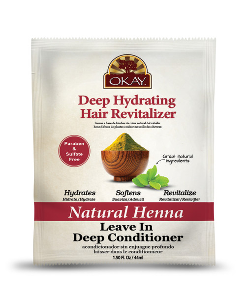 OKAY Natural Henna Leave In Conditioner - Helps Refresh, Revitalize, And Add Softness To Hair - Sulfate, Silicone, Paraben Free For All Hair Types and Textures -  1.5oz