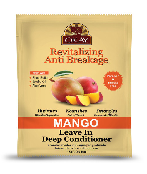 OKAY Mango Revitalizing Anti Breakage Leave In Conditioner Packet– Helps Revitalize, Repair, And Restore Moisture to Hair - Sulfate, Silicone, Paraben Free For All Hair Types and Textures  -  Made in USA 1.5oz