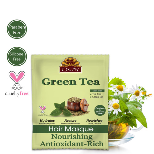 OKAY Green Tea Nourishing Antioxidant Rich Hair Masque – Helps Revitalize, Rejuvenate, And Restore Moisture to Hair  - Sulfate, Silicone, Paraben Free For All Hair Types and Textures-  Made in USA 1.5oz