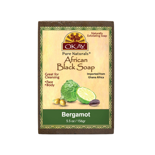 OKAY Pure Naturals African Black Soap Bergamont - Cleanses And Exfoliates Skin- Anti Inflammatory & Anti Bacterial- Nourishes Skin & Helps Heal Skin  - Sulfate, Silicone, Paraben Free For All Skin Types  -Created In Ghana-  5.5oz/156Gr