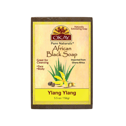 African Black Soap Ylang Ylang  - Cleanses And Exfoliates Skin- Anti Inflammatory & Anti Bacterial- Nourishes Skin & Helps Heal Skin  - Sulfate, Silicone, Paraben Free For All Skin Types  - Created In Ghana- Processed In USA- 5.5oz/156Gr