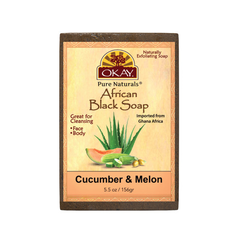 African Black Soap Cucumber & Melon - Cleanses And Exfoliates Skin- Anti Inflammatory & Anti Bacterial- Nourishes Skin & Helps Heal Skin  - Sulfate, Silicone, Paraben Free For All Skin Types  - Created In Ghana- Processed In USA -  5.5oz/156Gr