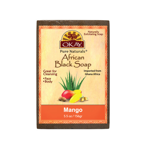 OKAY Pure Naturals African Black Soap Mango - Cleanses And Exfoliates Skin- Anti Inflammatory & Anti Bacterial- Nourishes Skin & Helps Heal Skin  - Sulfate, Silicone, Paraben Free For All Skin Types  - Created In Ghana- 5.5oz/156Gr