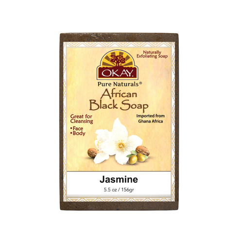 African Black Soap Jasmine - Cleanses And Exfoliates Skin- Anti Inflammatory & Anti Bacterial- Nourishes Skin & Helps Heal Skin  - Sulfate, Silicone, Paraben Free For All Skin Types  - Created In Ghana- Processed In USA -  5.5oz/156Gr