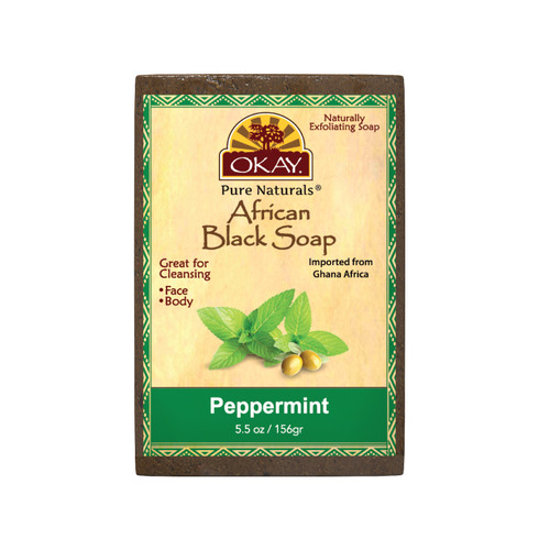 African Black Soap Peppermint - Cleanses And Exfoliates Skin- Anti Inflammatory & Anti Bacterial- Nourishes Skin & Helps Heal Skin  - Sulfate, Silicone, Paraben Free For All Skin Types  - Created In Ghana- Processed In USA-  5.5oz/156Gr