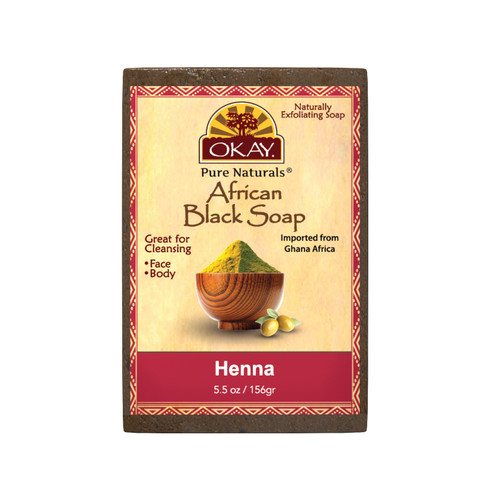 OKAY Pure Naturals African Black Soap Henna - Cleanses And Exfoliates Skin- Anti Inflammatory & Anti Bacterial- Nourishes Skin & Helps Heal Skin  - Sulfate, Silicone, Paraben Free For All Skin Types  - Created In Ghana- 5.5oz/156Gr