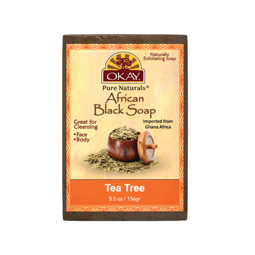 African Black Soap Tea Tree - Cleanses And Exfoliates Skin- Anti Inflammatory & Anti Bacterial- Nourishes Skin & Helps Heal Skin  - Sulfate, Silicone, Paraben Free For All Skin Types  - Created In Ghana- Processed In USA - 5.5oz/156Gr