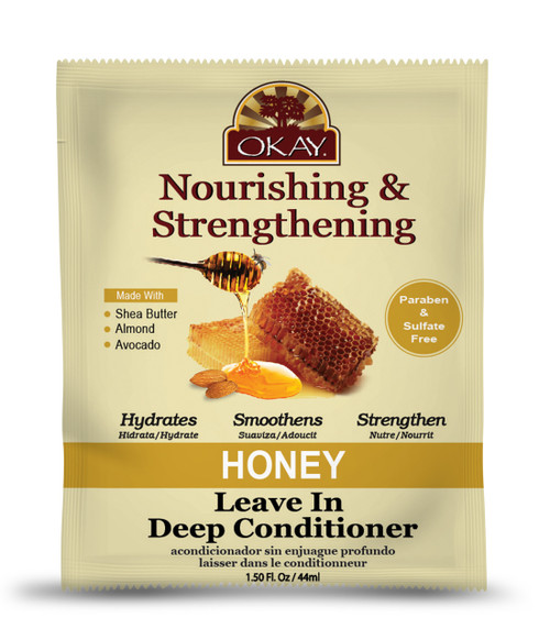 OKAY Honey and Almond Nourishing And Strengthening Leave In Conditioner Packet - Helps Refresh, Revitalize, And Strengthen Hair  - Sulfate, Silicone, Paraben Free For All Hair Types and Textures-  1.5oz