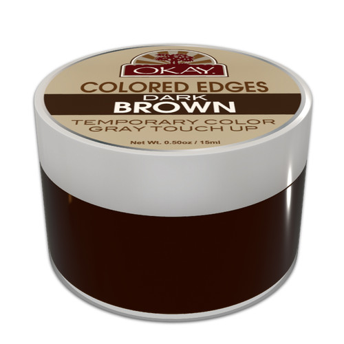 OKAY Colored Edges Dark Brown - No Flaking  All Day Hold - Conceals Gray New Growth Plus Edge Control - For Hairline, Sideburns - Silicone, Paraben Free For All Hair Types and Textures -  0.5oz / 15ml
