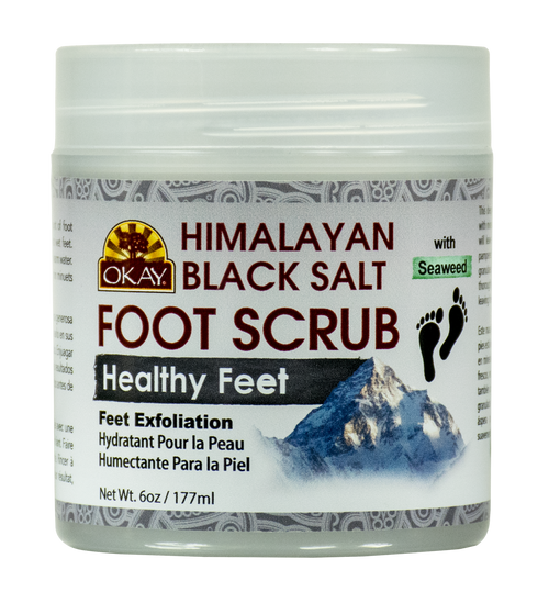Himalayan Black Salt with Seaweed Foot Scrub - Deep Exfoliating- Leaves Feet Feeling Fresh , Renewed And Pampered - No Parabens, No Silicones, No Sulfates - For All Skin Types -Made In USA  6oz / 170gr