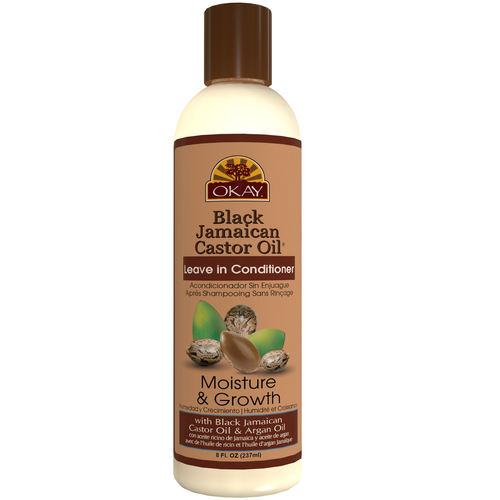 OKAY  Black Jamaican Castor Oil Moisture Growth Leave In Conditioner  - Helps Moisturize & Regrow Strong Healthy Hair  - Sulfate, Silicone, Paraben Free For All Hair Types and Textures- 8oz / 237ml
