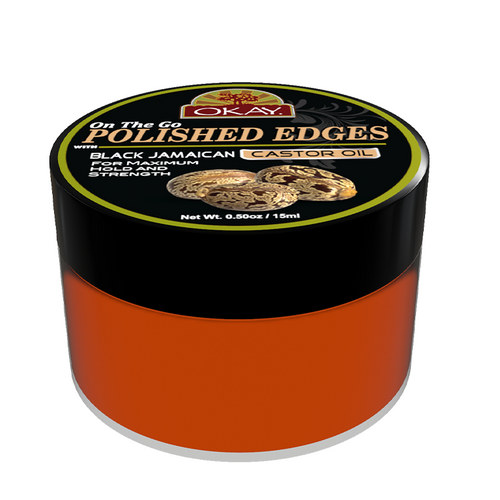 OKAY Polished Edges with Black Jamaican Castor Oil   - No Flaking  All Day Hold Edge Control - For Hairline, Sideburns - Silicone, Paraben Free For All Hair Types and Textures -  0.5oz / 15ml