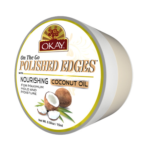 OKAY Polished Edges with Nourishing Coconut Oil   - No Flaking  All Day Hold Edge Control - For Hairline, Sideburns -Silicone, Paraben Free For All Hair Types and Textures -  0.5oz / 15ml
